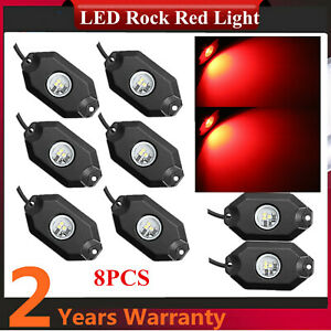 8pcs Red 9w Led Rock Car Trail Fender Under Glow Lamp Boat Truck 4wd Deck Light