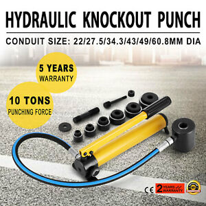 6 Die 10 Ton Hydraulic Knockout Punch 1 2 To 2 Hole Durable Driver Kit Pro