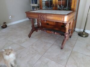 Walnut Victorian Marble Top Library Center Table