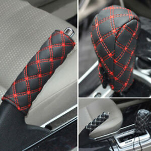 Car Faux Leather Gear Shift Knob Cover Hand Brake Cover Sleeve 2 In 1 Set B