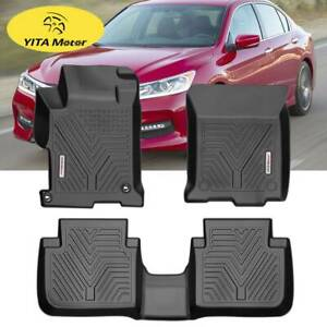 For 2013 2017 Honda Accord Sedan Front Rear All Weather Floor Mats Liner Black
