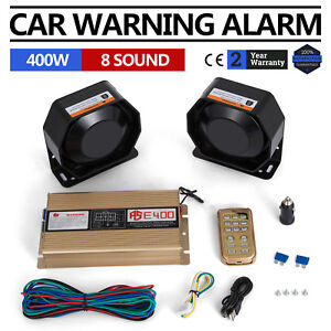 Can 400w 8 Sound Loud Car Warning Alarm Police Fire Siren Pa Mic System Led Top