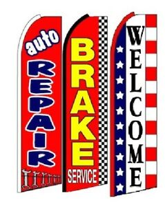 Auto Repair Brake Service Welcome King Size Swooper Flag Sign Pack Of 3