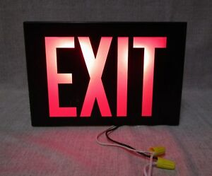 Vtg Cinema Movie Theater Metal Lighted Exit Sign pathway over Door Light W Cord