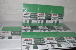 Jam Paper Rectangle Labels 3 1 3 x4 120 Labels Per Pack Gamma Green Lot X10