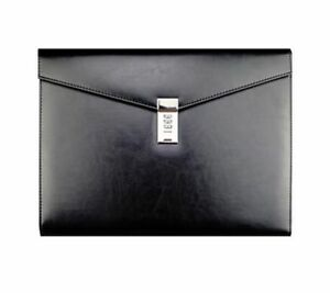Mens Leather Manager Folder Black File Storage Bag Case For Document Organizer