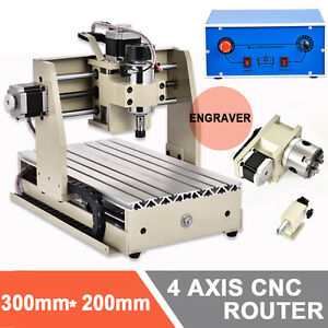 4axis Cnc Router 3020 Engraver 3d Engraving Machine Carving Milling Drilling Vfd