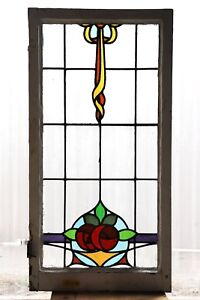 Large Tall Antique Stained Glass Window Eight Color Macintosh Roses 3101