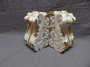 Pair Antique French Carved Wood Corbels Shelf Brackets Shabby Vtg Chic 615 18p