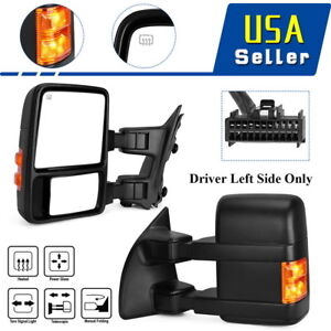 Oedro Tow Mirrors For 08 16 Ford Super Duty Power Heat Defog Amber Reflector