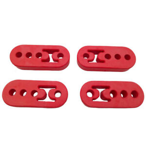 4pcs Universal 12mm 4 Holes Silicone Adjustable Muffler Exhaust Hanger Red