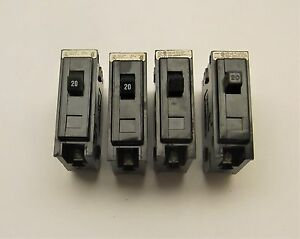 Lot Of 4 Used Cutler Hammer Qbhw1020 Circuit Breakers 1 Pole 20 Amp