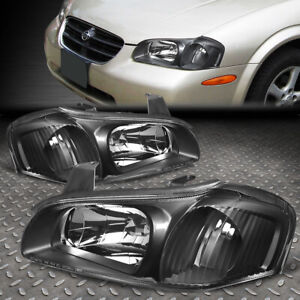 For 00 01 Nissan Maxima Black Housing Clear Corner Headlight Replacement Lamps