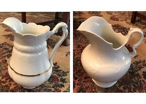 Three Large Antique Ceramic China Wash Pitchers Turn Of The Century