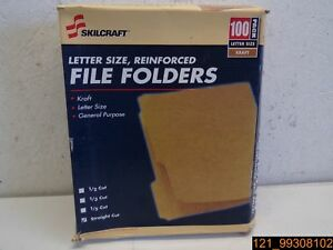 Case Of 3 Pks Skilcraft Letter Sz Kraft File Folders 100 Per Pk 7530006630031