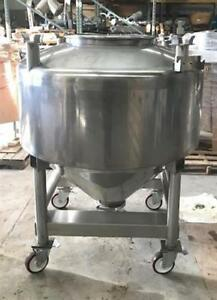 Used 200 Gallon Portable Sanitary Stainless Steel Tote Tank W Cone Bottom In Nj