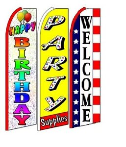 Happy Birthday Party Supplies Welcome King Size Swooper Flag Pack Of 3