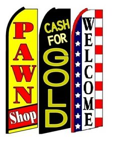 Pawn Shop Cash For Gold Welcome King Size Swooper Flag Pack Of 3
