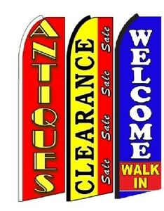 Antiques Clearance Sale Welcome Walk In Swooper Flag Sign Pack Of 3