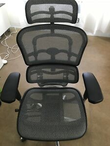 Ergohuman High Back Swivel Chair With Headrest Black Mesh Seating