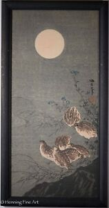 Rare Aoki Seiko Japanese Woodblock Birds In The Moonlight Signed