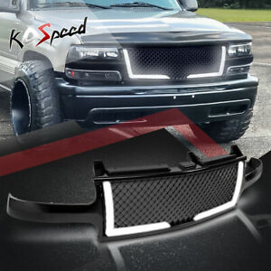 Black Mesh Front Bumper Abs Grille Grill Guard For 99 06 Chevy Silverado Tahoe