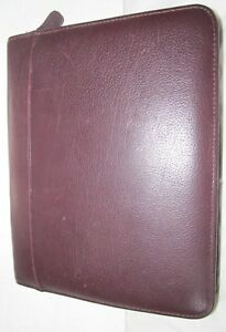 Franklin Quest Classic Burgundy Top grain Verona Leather 7 ring Binder Organizer