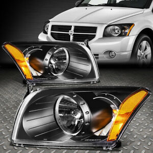 For 2007 2012 Dodge Caliber Pair Black Housing Amber Corner Headlight lamp Set
