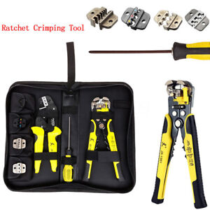 4 In1 Professional Wire Crimper Pliers Ratcheting Terminal Crimping Tool Kit Lot