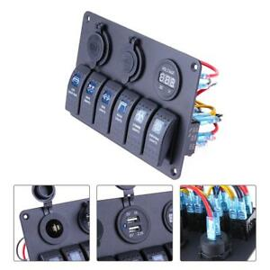 12v 24v Waterproof Boat 6 Gang Led Rocker Switch Panel Circuit Breaker Connector