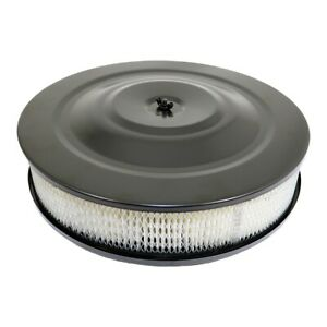 Black Air Cleaner Assembly 5 1 8 Neck 14 Round Flat Base W 3 Paper Filter