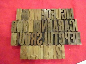 Vintage Type Wood Print Block Letterpress 50 Pcs 2 High