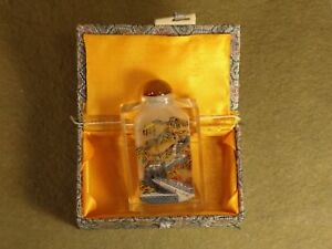 Vintage Chinese Reverse Painted Thick Cut Crystal Snuff Bottle W Box