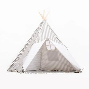 New Large 5 Wall Kids Teepee Gray Striped 100 Natural Cotton Canvas Carry
