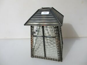 Vintage Metal Porch Garden Lantern Light Shade Lamp Antique Glass Panel Old Deco