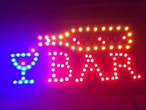 Led Bar Sign Open Bar Led Neon Motion Light Sign On off With Chain No Tax