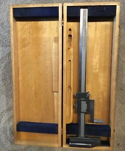 Vintage Brown Sharpe 12 Inch Height Gage No 586 In Wood Case Made In U s a