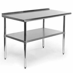 Gridmann Stainless Steel Commercial Kitchen Prep Work Table With Backsplash 48