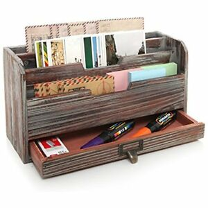 3 Tier Country Rustic Torched Wood Office Desk File Organizer Mail Sorter Tray