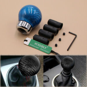 Universal Light Blue Carbon Fiber Gear Shift Knob For Manual Transmission Car