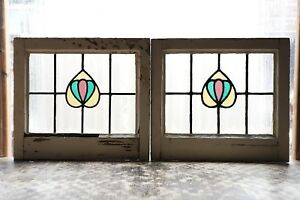 Pair Of Antique Stained Glass Windows Three Color Nouveau Tulips 3105