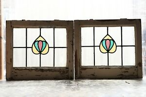 Pair Of Antique Stained Glass Windows Three 3 Color Art Nouveau Tulips 3107