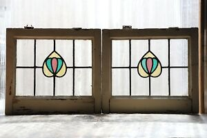 Pair Of Antique Stained Glass Windows Three Color Art Nouveau Tulips 3108