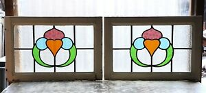 Large Pair Of Antique Stained Glass Windows Four 4 Colors Of Glass 3109