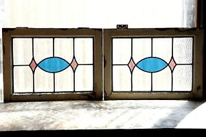 Pair Of Antique Stained Glass Windows Two 2 Colors Fantastic Design 3115