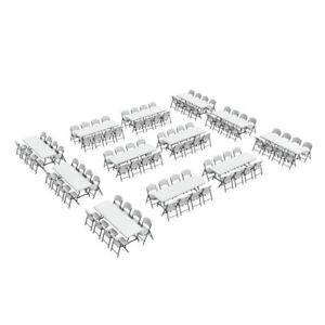 New Lifetime Folding Tables And Chairs 80543 96 Folding Chairs 12 8 ft Tables