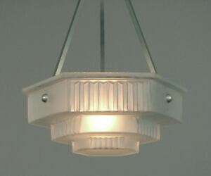 An Art Deco Glass Lighting Bowl In The Modernist Style With Custom Hardware 4u