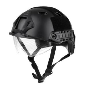 Lancer Tactical Fast Helmet Cycling Helmet Head Protector Retractable Black