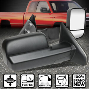For 02 09 Dodge Ram Pair Manual Adjustment Flip up Towing camper Side Mirrors