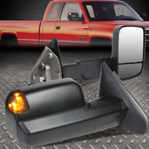 For 02 09 Dodge Ram Pair Powered Towing camper Side Mirror W heated puddle Light